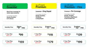 surf care pricing plan