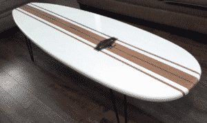 Old School White and Wood grain Surfboard Coffee Table Surfboard Furniture End Table