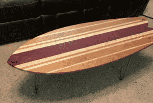 Hardwood Surfboard Coffee Table with Hairpin Legs Fishtail Multiple Styles