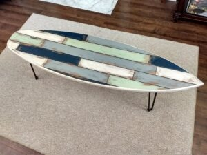 Faux Pallet Wood Rustic Weathered Surfboard Coffee Table